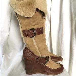 Fendi Leather Shearling Wedge Boots Heels